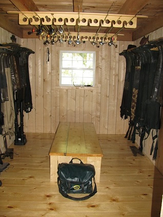 Our new mud room with all the fishing gear and waders .jpg